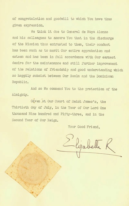 Letter of State signed by Queen Elizabeth II