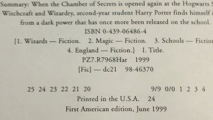 Harry Potter and the Chamber of Secrets copyright page
