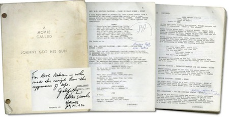Johnny Got His Gun script (inscribed by Dalton Trumbo)