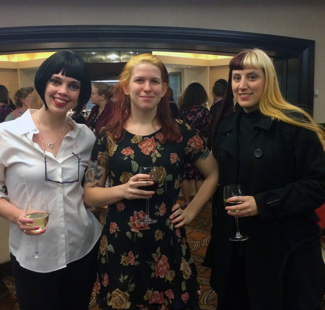 Ashley Wildes (Between the Covers), Alanna Miles (Caliban), and Kim Schwenk (Lux Mentis)