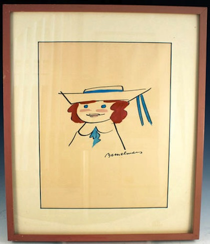Watercolor drawing of Madeline by Ludwig Bemelmans