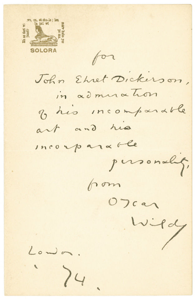Letter signed by Oscar Wilde