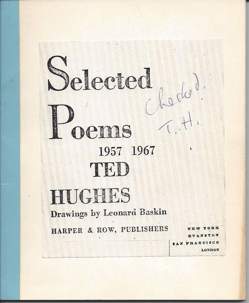 Selected Poems 1957-1967, Ted HUghes, Signed