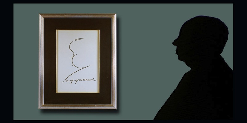 Alfred Hitchcock, Signed Self-Caricature