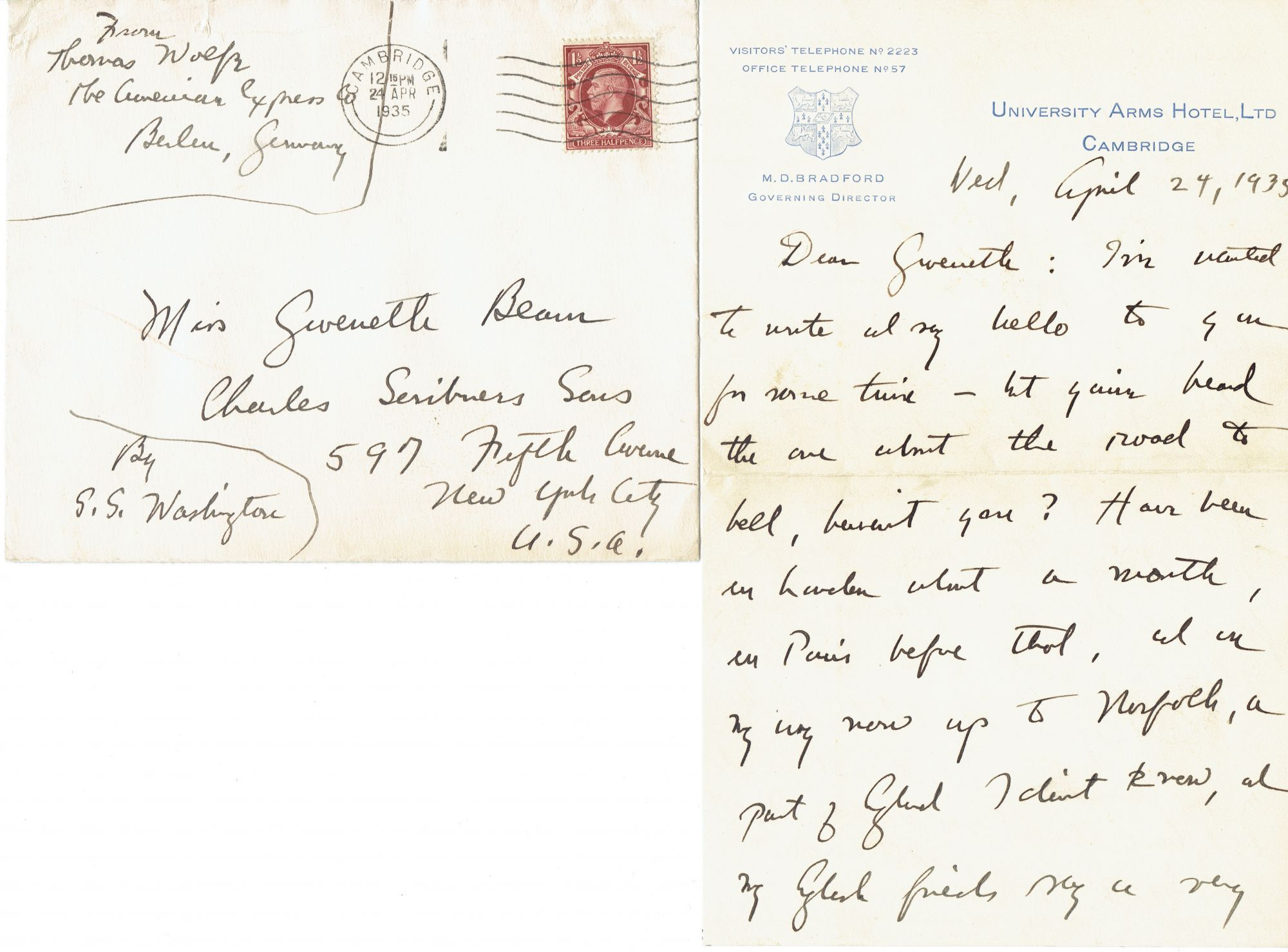 Autograph Letter Signed, Thomas Wolfe