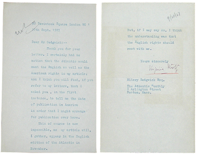 Virginia Woolf Typed Letter Signed