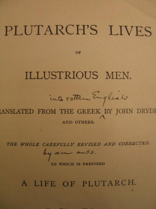 Mark Twain's marginalia on his copy of Plutarch's Lives