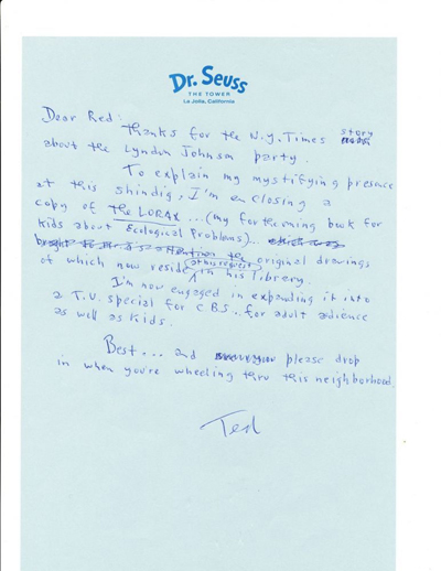 Signed, autograph letter by Dr. Seuss