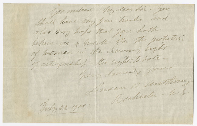 Susan B. Anthony Signed Note